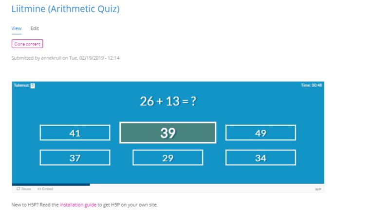 Aritmeetika viktoriin (H5P)