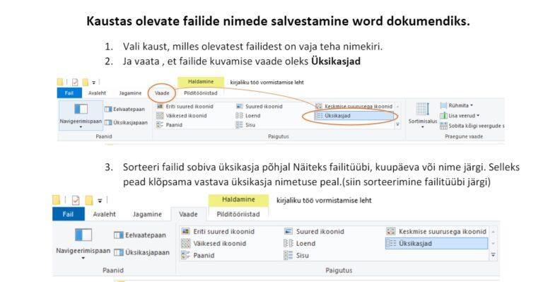 Kaustas olevate failide loetelust MS Word'i dokumendi loomine